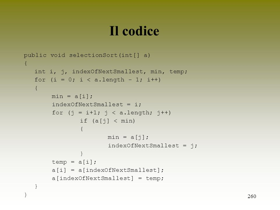 Il codice public void selectionSort(int[] a) {